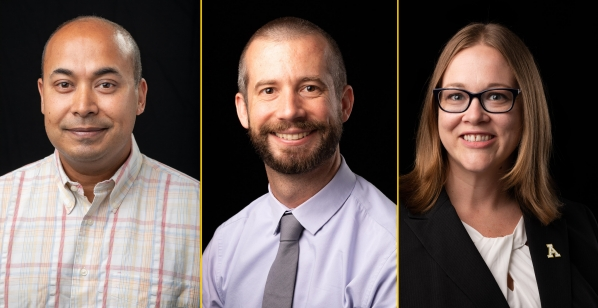Assistant professor of economics, Dr. Dennis Guignet (center) won the Dean's Club Research Prize at Appalachian State University. Marketing professor, Dr. Neel Das (left), and finance professor Dr. Brandy Hadley (right) earned second place prizes