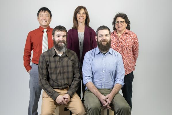 Appalachian's 2018 Innovation Scholars: back row, left to right: Nicholas Shaw, Tammy Kowalczyk and Beth Davison; front row, left to right: Richard Christiana and Kevin Gamble. Photo by Marie Freeman