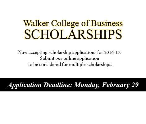 Deadline to submit scholarship application is Monday, February 29.