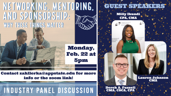 Accounting students to host young alumni for virtual panel discussion on networking, mentoring and sponsorship