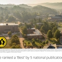 In this aerial photo, a morning sun illuminates Appalachian State University's campus as a fine layer of fog rises from the surrounding Blue Ridge Mountains of Western North Carolina. Appalachian recently appeared in the 2020 rankings of U.S. News & World Report for its value, academics, innovation and benefits for student veterans, among other categories. The university was also recognized by The Princeton Review, as well as MONEY, Forbes and Kiplinger's Personal Finance magazines.