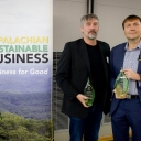 Dr. Todd Cherry, left, and Dr. Joseph Cazier, with their 2019 Green E Awards at the Walker College of Business' fifth annual Business for Good conference, held on Appalachian's campus Friday, Oct. 18. Cherry is a professor in and chair of the college's Department of Economics, and Cazier is a professor in the Department of Computer Information Systems and executive director of the college's Center for Analytics Research and Education (CARE).