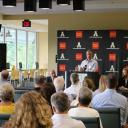 CERPA Director Ash Morgan delivers comments on the economic impact of App State Athletics during the Aug. 25, 2017 Wake up Watauga event, hosted by the Boone Area Chamber of Commerce (Photo: Boone Area Chamber of Commerce)