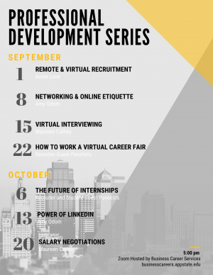 Seven-part professional development series for business students to be held virtually for Fall 2020