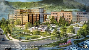 A conceptual rendering imagines the view of a daylighted Boone Creek, green space in the current Peacock parking lot and a mixed-use parking deck adjoining Peacock Hall and Howard St.