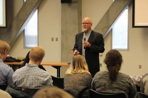 Dr. David Schrader, a sports analytics educator from Teradata University Network, spoke with students on the campus of Appalachian State University November 14, 2017