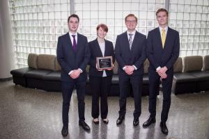 Neil Agnew, Madeline Hamiter, Joshua Lee and Andrew Crumpler earned first place at the 2019 North Carolina CFA Institute Research Challenge