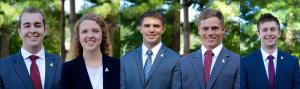 """2016-17 Broyhill Fellows: senior finance and banking and risk management and insurance double major Jarrett Jacumin; senior finance and economics double major Hollie Brown, senior finance and banking majors McCarthy """"Mac"""" Shelton, Charles Plummer, and John Mosser."""