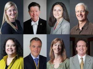 From upper left, clockwise: Appalachian Business Professors Pia Albinsson, Dana Clark, Heather Dixon-Fowler, Pete Groothuis, Scott Hunsinger, Tammy Kowalczyk, Ash Morgan and Tracy Reed