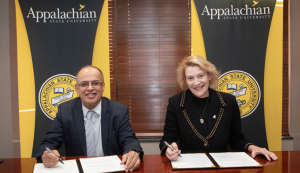 Photo of AURAK President Hassan Hamdan Al Alkim and App State Chancellor Sheri Everts