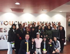 Appalachian and Fudan Holland Fellows students at Krispy Kreme headquarters