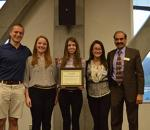Appalachian Supply Chain club representatives, pictured from left, Tyler Sawyer, Stacey Hall, Ashley Kirkland, and Ashley LaManna along with faculty advisor Supply Chain Management professor Dinesh Dave' accept a Membership Development Award.