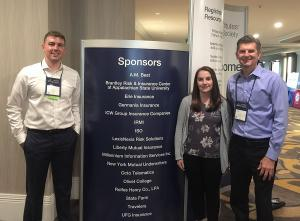 Appalachian students Joshua Johnson, left, and Kate Ciesinski with Dr. David Marlett at the CPCU Society Annual Meeting