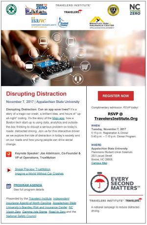 Brantley Center to co-host distracted driving event, Disrupting Distraction, on Appalachian's Campus