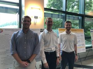 From left, students Lucas Stinson, Daniel Paprocki and Daniel Stout at the Appalachian Energy Summit