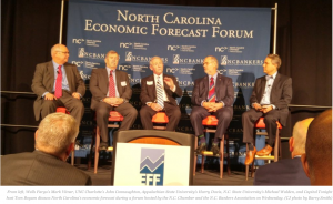From left, Wells Fargo's Mark Vitner, UNC Charlotte's John Connaughton, Appalachian State University's Harry Davis, N.C. State University's Michael Walden, and Capital Tonight host Tom Boyum discuss North Carolina's economic forecast during a forum hosted by the N.C. Chamber and the N.C. Bankers Association on Wednesday. (CJ photo by Barry Smith)