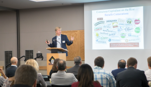 As part of the Walker College's Business for Good conference at Appalachian State University, students and faculty are hearing from leaders in sustainable business practice, including Mr. John Replogle, CEO & President of Seventh Generation. (Photo by Marie Freeman)