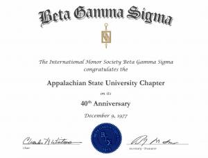 Beta Gamma Sigma Certificate