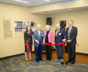 From left, the following people cut ribbon during the March 8 naming ceremony for the Broyhill Commons at Appalachian State University: Dr. Heather Norris, Paul Broyhill, Allene Stevens, Jim Broyhill and Dr. Randy Edwards, vice chancellor for university advancement at Appalachian. Photo by Marie Freeman