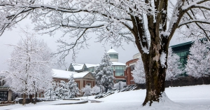A heavy snowfall blankets the campus of Appalachian State University