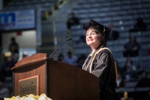 Talana J. Bell '86, returned to Appalachian to earn a Master of Science in accounting and a Master of Science in applied data analytics. Bell gave remarks during the December 2017 commencement ceremony at Appalachian State University.