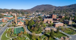 An April drone photograph of the Appalachian State University campus. While the campus remains closed because of the COVID-19 pandemic, Spring 2020 graduates will celebrate a virtual commencement May 16.
