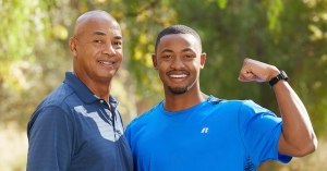 "Appalachian State University alumnus and former Mountaineers basketball player Frank Eaves '16, right, and his father, Jerry Eaves — a former NBA player and coach who is a current collegiate basketball coach and talk show host in Louisville, Kentucky. The two teamed up to appear on the 32nd season of ""The Amazing Race,"" currently airing on CBS."