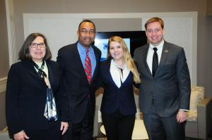 Computer information systems and supply chain management professor Beth Ellington, Charlotte City Councilman James Mitchell, Jr., Emily Turner and Josh Conner at the Institute for Supply Management Carolinas-Virginia Chapter's Spring Conference Student Case Competition