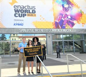 From left, sophomore international business major Adam Garrison, sophomore management major Hannah Ross, and MBA student Michelle Jeanniton-Garrett attended the 2019 Enactus World Cup in San Jose, CA.