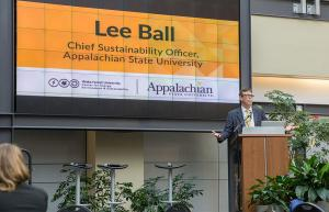Lee Ball, chief sustainability officer at Appalachian, spoke to an audience of students, educators and business leaders about the importance of sharing ideas and best practices to support a clean energy economy at the 2018 Appalachian Energy Summit's midyear meeting. Photo submitted