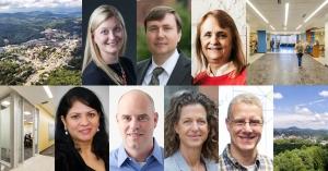 From top left, clockwise, are Pia Albinsson, Joseph Cazier, Bonnie Guy, John Whitehead, Rachel Shinnar, Mark Lewis and  Lakshmi Iyer