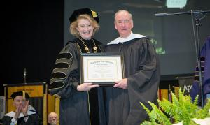Chancellor Sheri N. Everts of Appalachian State University with Richard G. Sparks, who received an honorary Doctor of Humane Letters degree during Fall Commencement December 10, 2016 for his service to the community. Photo by Marie Freeman.
