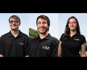 From left, sustainable business minor Hunter Bristow, finance and banking major Diego Lewis, and environmental economics and policy major Kali Smith, help make up the 2018 crew of 15 taking Appalachian State University's Cruiser Class solar car ROSE (Racing on Solar Energy)