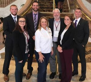 Pictured from left, Matt Mullen, Gabrielle Khoury, Alex Friends, Marketing Professors Bonnie Guy and Jim Stoddard, Olivia Chason, and Trey Hemphill during the 2016 International Collegiate Sales Competition
