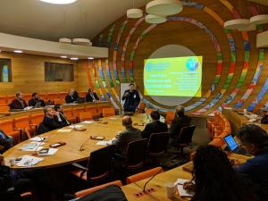 Dr. Joseph Cazier, director of Appalachian's Center for Analytics Research and Education, presenting at the United Nations' Food and Agriculture Organization event