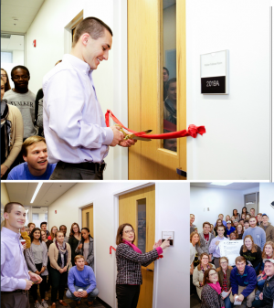 Clockwise from top: Walker Fellows President Kyle Harrison cuts the ribbon on the space; members of the Walker Fellows in the space; Walker College Dean Norris dedicates the Walker Fellows Room