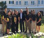 Dennis Crosby, center, with Marlett, left, and Appalachian RMI students in Bermuda