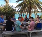 Business students enjoying a meal in Bermuda