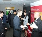 Students interacting with business leaders at Business Connections event