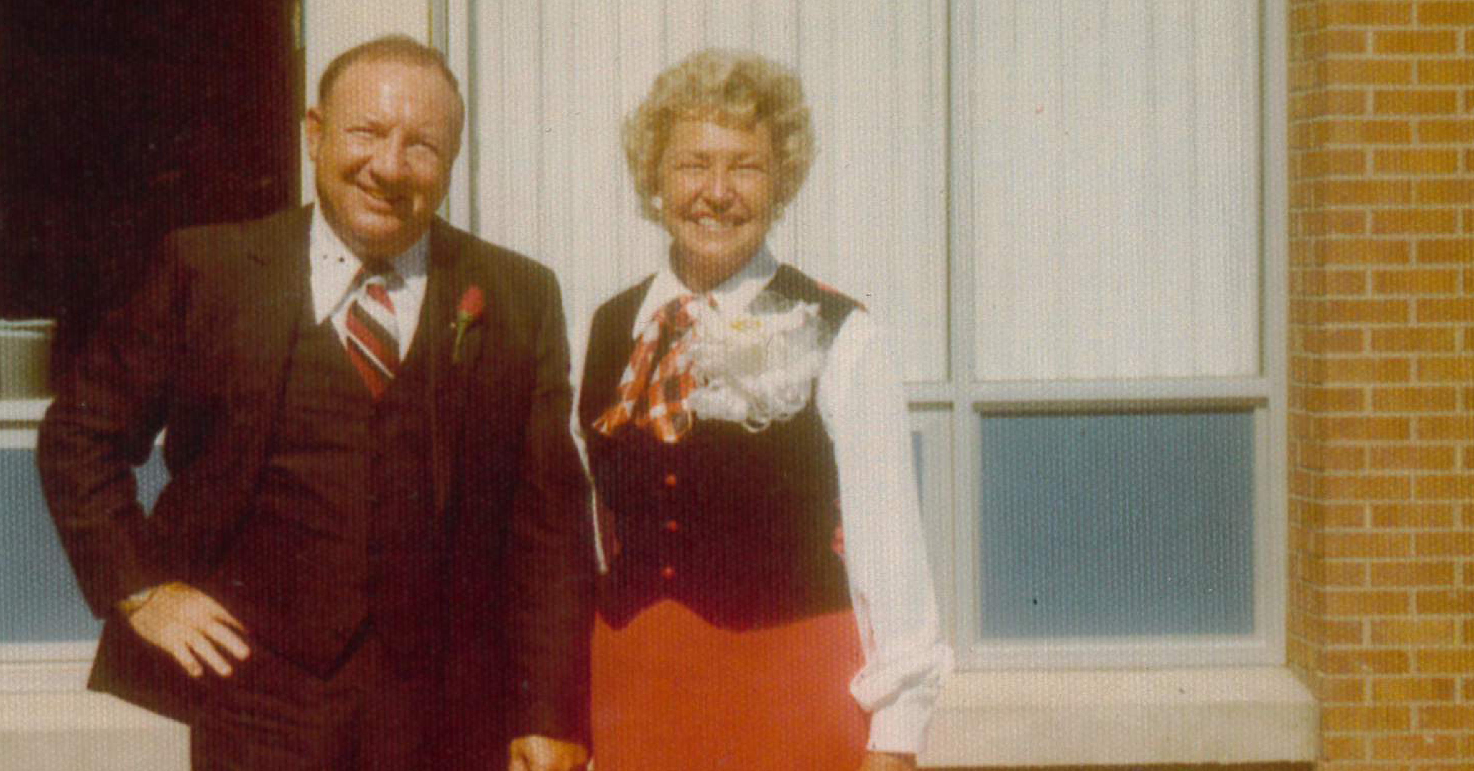 John A. Walker and his wife, Beryl, at the dedication of Walker Hall.
